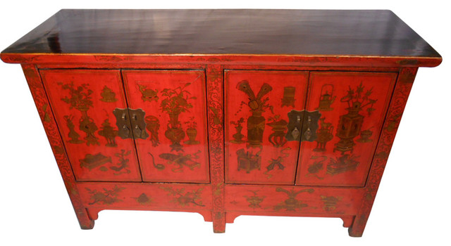 Chinese Antique-Style Cabinet Lacquered, Red With Hand-Painted Design -  Asian - Buffets And Sideboards - by Oriental Furnishings - Chinese Antique-Style Cabinet Lacquered, Red With Hand-Painted