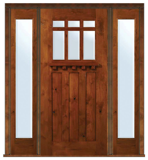 Prehung side lights door 80 alder craftsman 3 panel 6 lite for Entry door with side windows