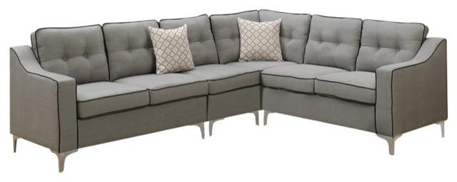 Polyfiber Fabric 4-Piece Sectional Set, Gray With Black Trim.