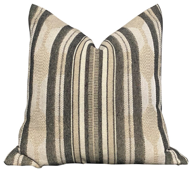 """Fiona Striped Pillow in Natural., 20""""x20"""", With Pillow Insert"""