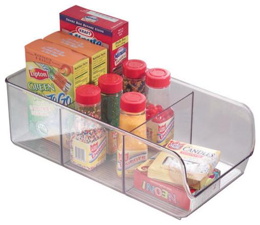 Clear Plastic Divided Cabinet Storage Bin.