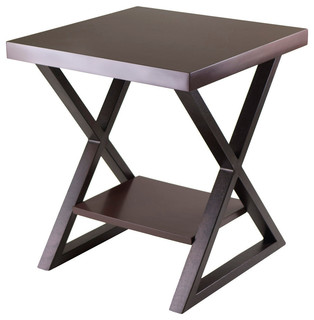 Winsome Wood Korsa End Table w/ Dark Bronze Legs in Cappuccino - Contemporary - Side Tables And End Tables - by Beyond Stores