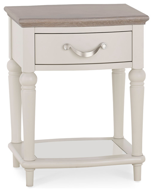 Morris Oak End Table With Drawer, Off White And Gray Wash.