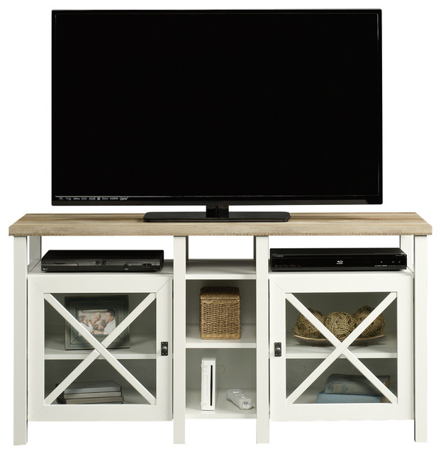credenza soft white finish beach style centers and tv stands by sauder - Sauder Tv Stands