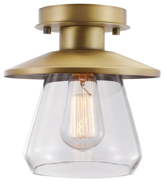 Nate 1-Light Brass Semi-Flush Mount.