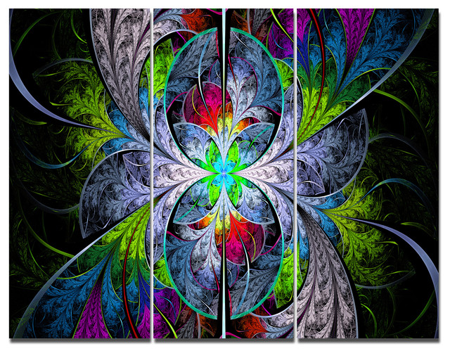 Multi Color Fractal Stained Glass, Abstract Wall Art