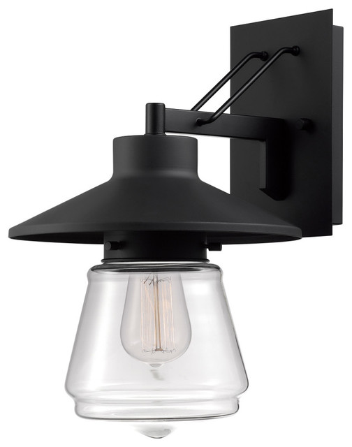 Montgomery 1-Light Outdoor Wall Sconce With Glass Shade, Black.