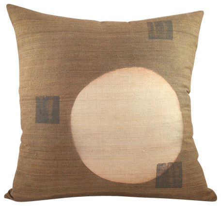 Light Brown Decorative Pillows : Shop Houzz BZDesign Light Brown Hand Block Printed Silk Pillow - Decorative Pillows