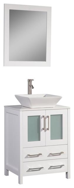 """Vanity Art Vanity Set With Vessel Sink, White, 24"""", Standard Mirror"""