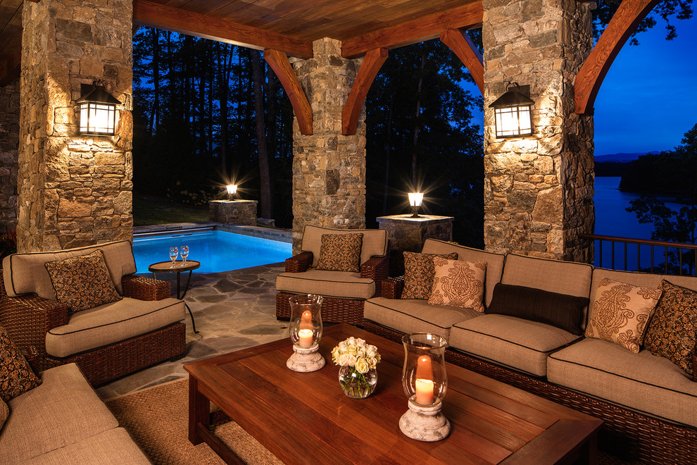 Mountain style home design photo in Other