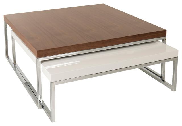 Tweens Veneer Coffee Table, Walnut Veneer And White Lacquer