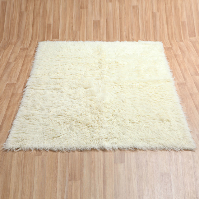 Pure Eco-Friendly Wool Flokati Shag Rug, Natural, 8'x10'