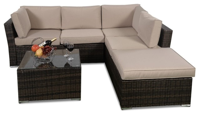 Modern 4 Pieces Wicker Cushioned Patio Rattan 5 Seat Sofa Furniture Set