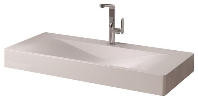 "Adm Rectangular Wall Mounted Sink, Glossy White, 39""x20""."