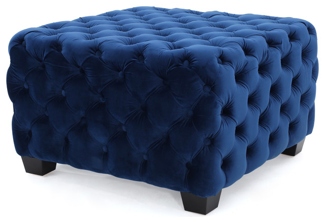 Provence Tufted New Velvet Fabric Ottoman Pouf, Midnight Blue.