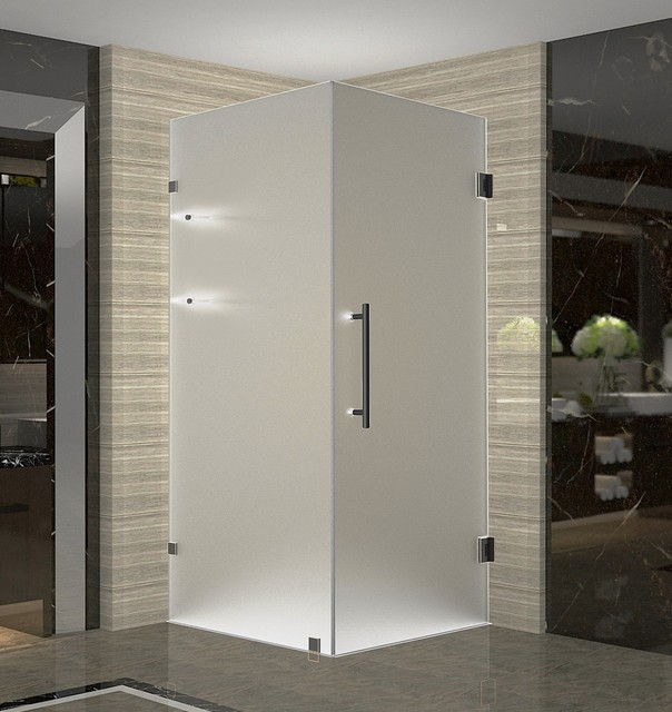 Aquadica gs 30 x30 x72 frameless square frosted shower for Shower cubicle shelves