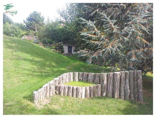 Banc d co en rondin d acacia campagne jardin - Astuce deco jardin recup clermont ferrand ...