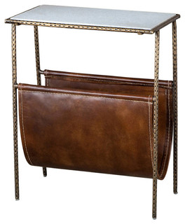 Nice Distressed Tan Strauss Magazine Table   Contemporary   Magazine Racks   By  Gore Dean Home