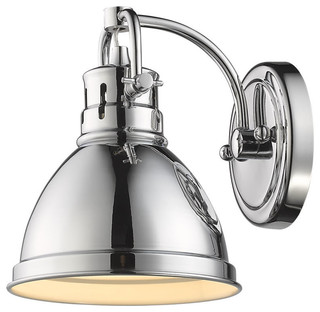 Duncan 1 light vanity fixture traditional bathroom vanity lighting by golden lighting for How to clean pitted chrome bathroom fixtures
