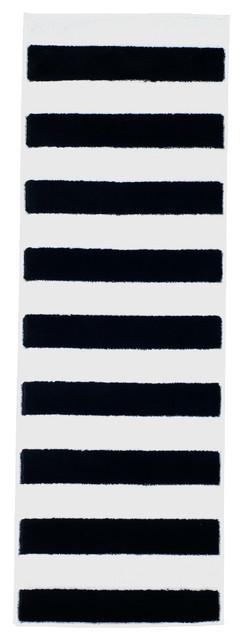 Breton Stripe Runner Rug 1 8 X5 Black And White Traditional