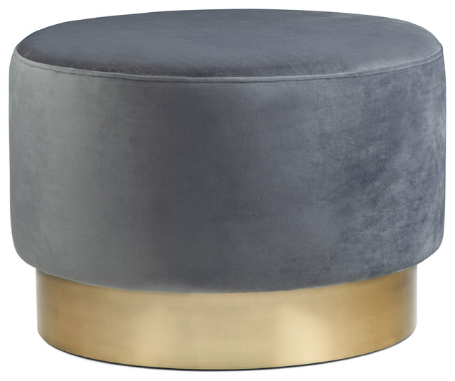 Astounding Bardoe Large Round Ottoman Footstool Gray Velvet Caraccident5 Cool Chair Designs And Ideas Caraccident5Info