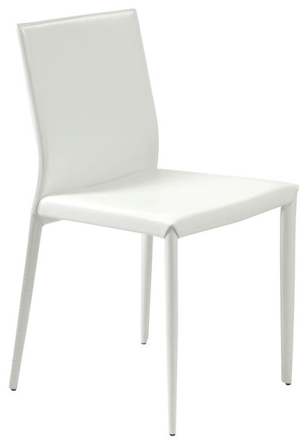 white leather upholstered dining chairs set of four - White Wood Dining Chairs