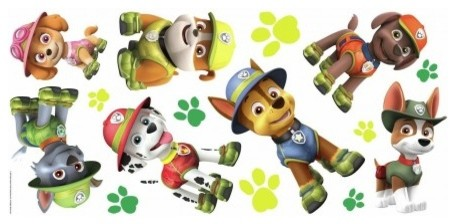 Paw Patrol Jungle Peel And Stick Giant Wall Decals 15 Piece Set
