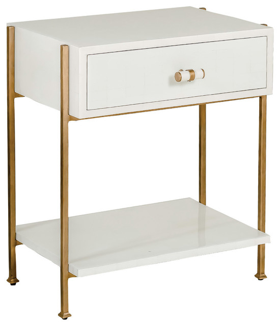 Dolly Bone White And Gold Side Table.