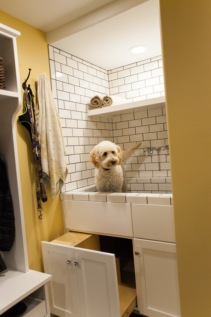 Laundry And Mud Room With Custom Dog Wash Transitional