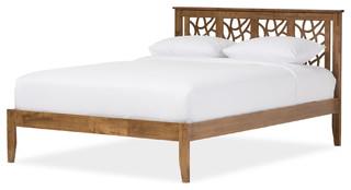 Trina Contemporary Tree Branch Inspired Walnut Wood Platform Bed, King