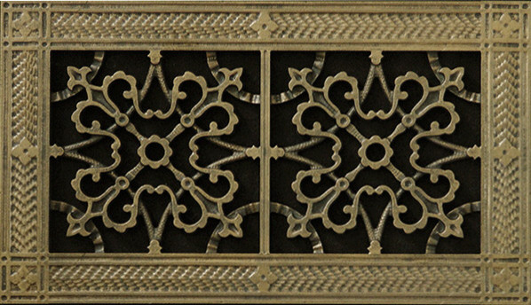 Arts & Crafts Style Decorative Grille, Vent, Grate Or Register, Antique Brass, 8.