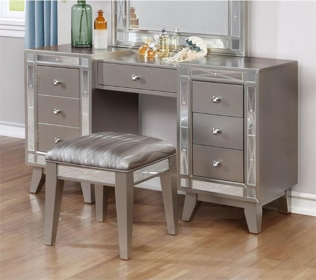 Coaster 2-Piece Mirrored Vanity Set, Metallic Mercury ...