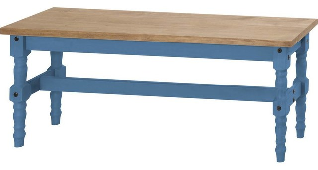 Mid Century Rustic Solid Pine Wood 2 Seat Dining Bench, Blue   Rustic   Dining  Benches   By Modhaus Living
