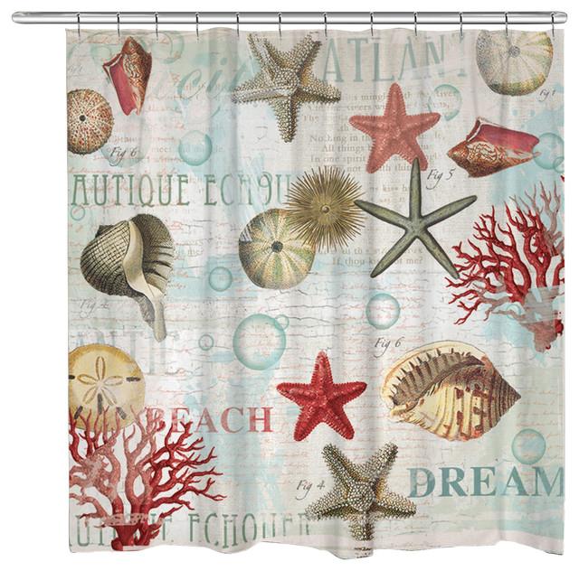 Shop Houzz | Laural Home Dream Beach Shells Shower Curtain ...