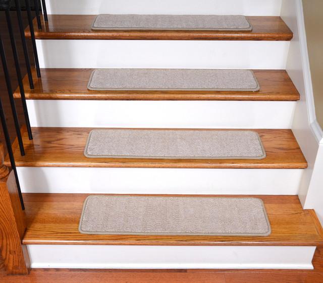 Non Slip Tape Free Carpet Stair Treads, Set Of 15, Beige