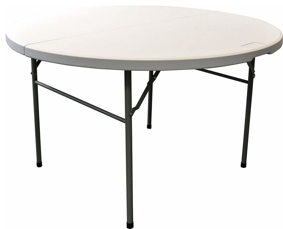 Contemporary Folding Table, Steel Metal Frame, Plastic Top ...