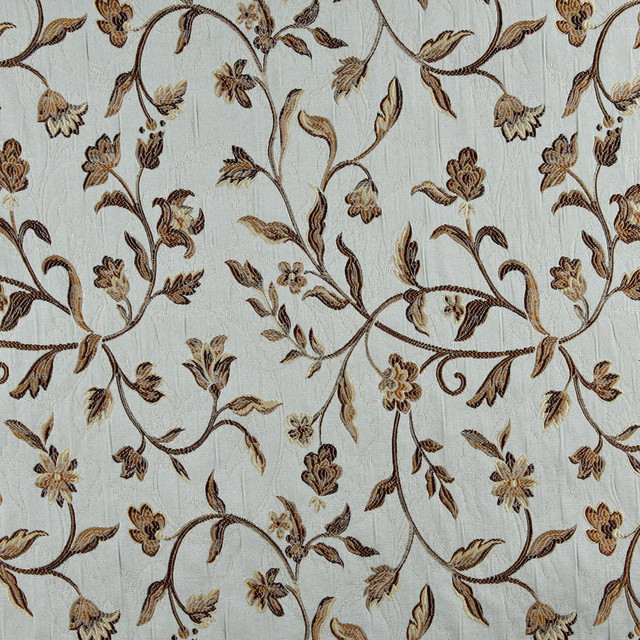 Light Blue Gold Brown and Ivory Floral Brocade Upholstery Fabric ...