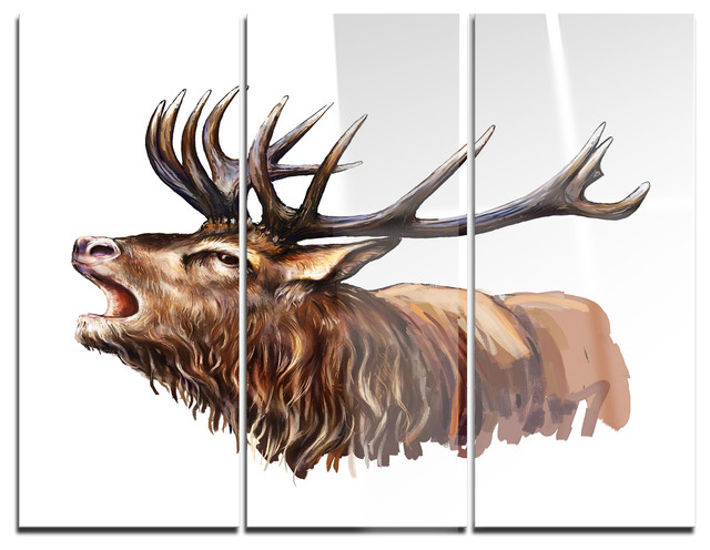 Metal Wall Decor Animals : Deer head illustration art animal glossy metal wall