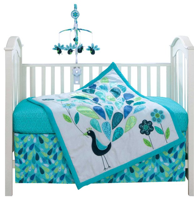 Houzz Spring Landscaping Trends Study: Peacock 3-Piece Baby Crib Bedding Set By