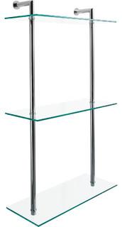 DWBA 3 Tier Wall Mounted Bathroom Rack Clear Glass Organizer Shelf
