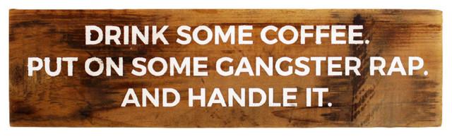 """gangster Rap"" Reclaimed Wood Sign. -1"
