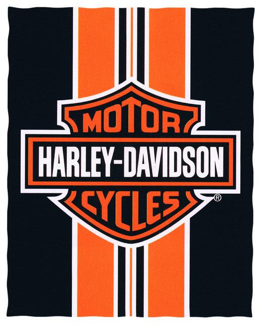 "Beach Blanket Logo: Harley-Davidson Logo And Striped Beach Blanket 54""x68"