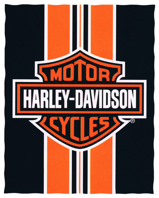Miraculous Harley Davidson Logo And Striped Beach Blanket 54 In X 68 In Interior Design Ideas Clesiryabchikinfo