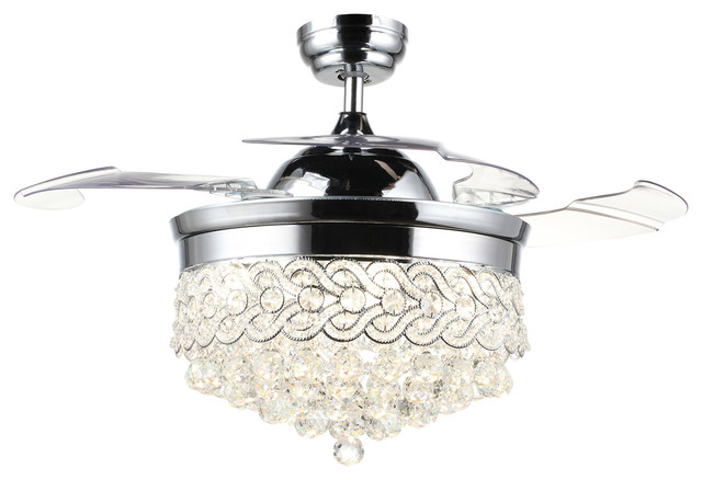 Jake Crystal Ceiling Fan With Folding Blades Light and Remote 42