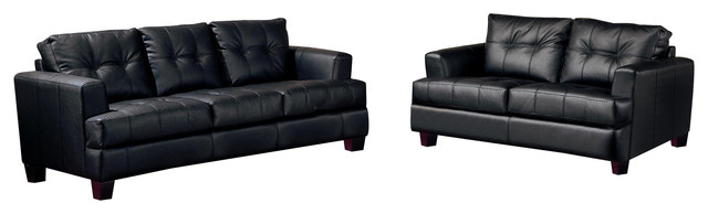 2pc Modern Black Bonded Leather Sofa And Love Seat.