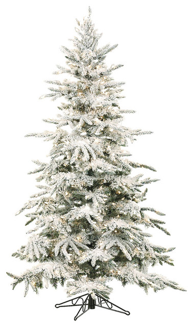 Flocked Mountain Pine Christmas Tree, 7.5', Without Lights