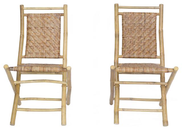 Mahalo Bamboo Folding Chair W/ Rattan Skin Chevron Weave