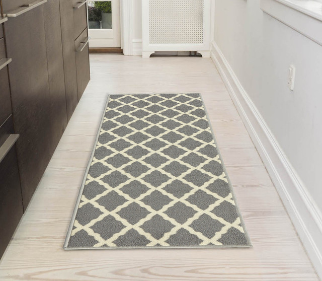 Glamour Collection Trellis Non Slip Runner Rug, 2&x27;2 X 6&x27;0.