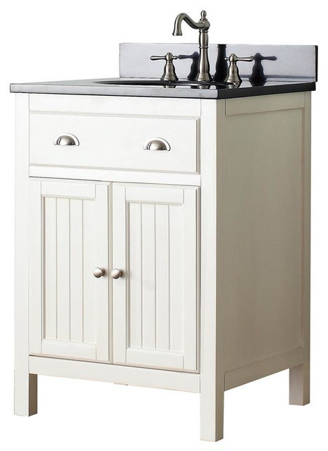 Single Sink Vanity in French White Finish  Beach Style  Bathroom Vanities  by ShopLadder