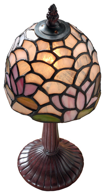 Lotus Flower Petite Stained Glass Lamp Asian Table Lamps By